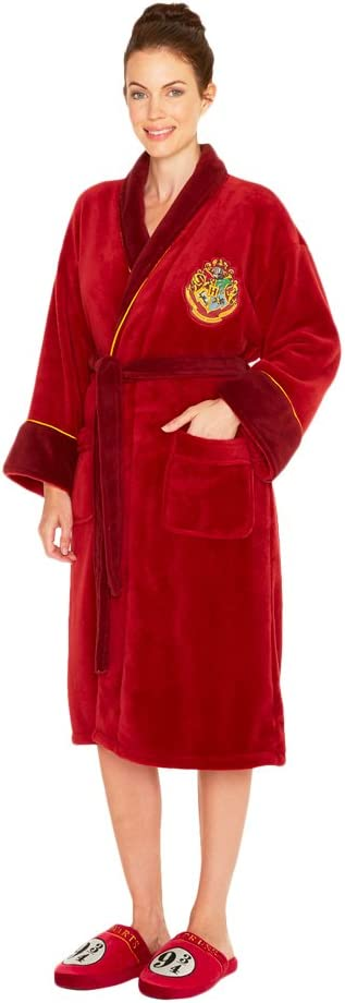 Groovy Platform-Hog-Express-Ladies-Bathrobe Bata de Mujer Andén 9 y 3/4, Harry Potter, Poliéster, Rojo