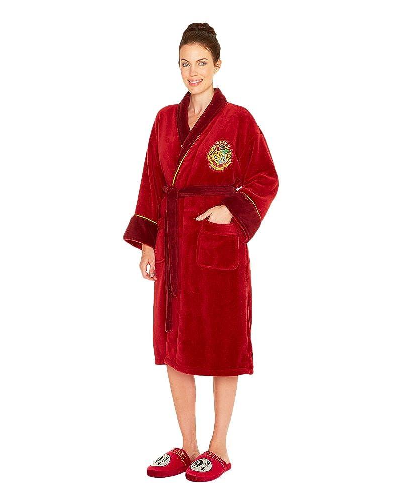 Harry Potter Ladies Fleece Bathrobe Hogwarts Express 9 3/4 Groovy Pigiami