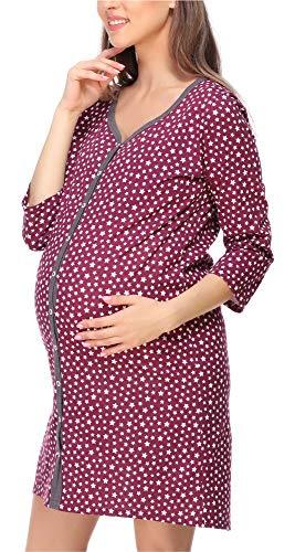 Bellivalini Camicia da Notte Premaman Manica 3/4 con Funzione Allattamento BLV50-115 Premaman