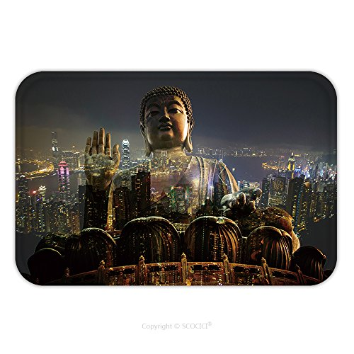 Flannel Microfiber Non-slip Rubber Backing Soft Absorbent Doormat Mat Rug Carpet Double Exposure Giant Buddha Sitting On Lotus In Hong Kong Night View Of The City Life Light Of 549640747 for Indoor/Ou (Tampa Upholstery)