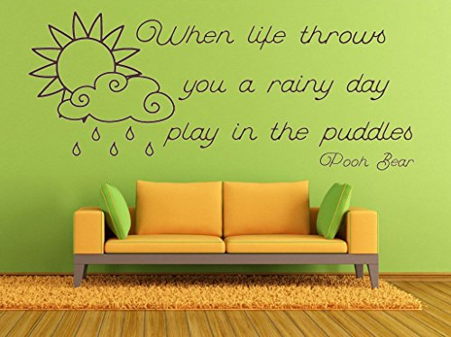 Pooh Mural - AA Milne, Winnie the Pooh, Rainy Day, Puddles Quote, Vinyl Wall Art Sticker. Mural, Decal. Home, Wall Decor. Inspirational, Motivational Quote, Pooh Bear