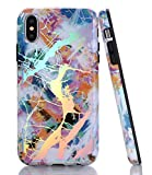 BAISRKE White Multicolor Opal Marble Case with Gorgeous Holographic Pattern Design Slim Black