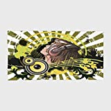 iPrint Cotton Microfiber Hotel SPA Beach Pool Bath Hand Towel,Music Decor,Abstract Illustration of a DJ Disco Headphone Dance Striped Background,for Kids, Teens, and Adults
