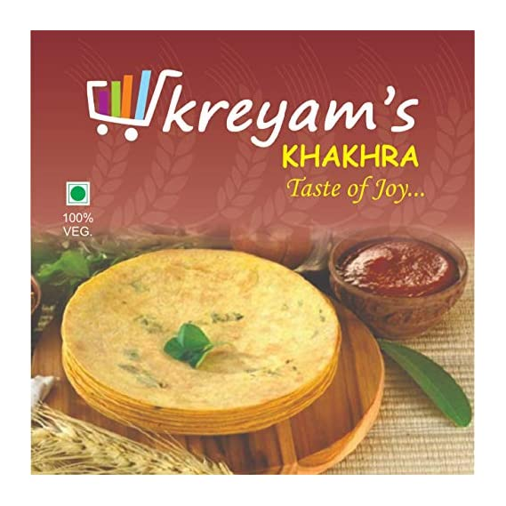 kreyam's khakhra in 4 Flavours (Chilli Garlic,Jeera,Masala,Plain)(480 Grams)