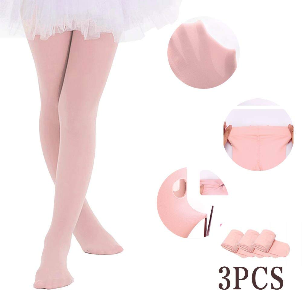 Ballet Tights for Girls Toddler Leotards Dance Footed Tights (Pink - 3 Tights, 2-4 Years)