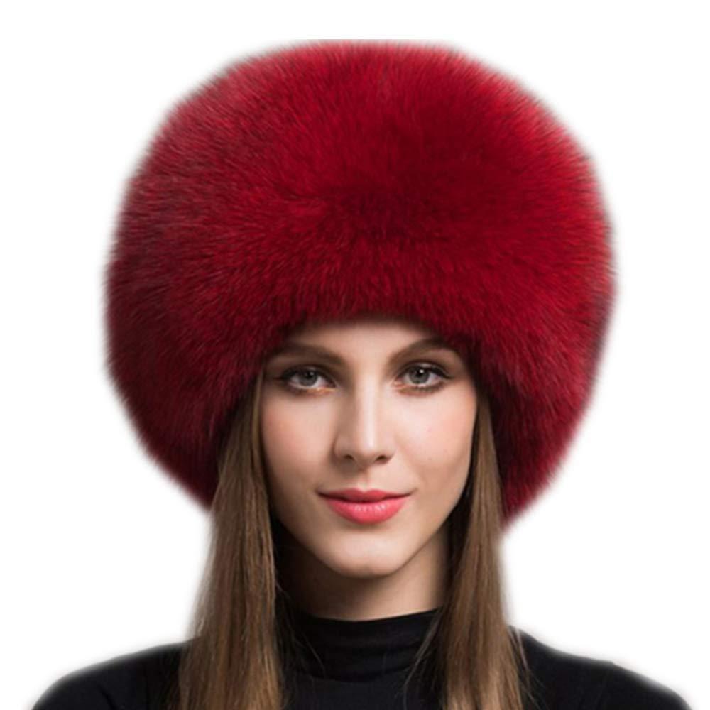 gegefur Women's Real Fox Fur Hats Leather Earmuffs Warm Winter Hats
