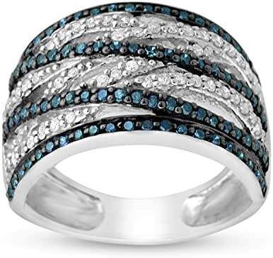 0.75 CTTW Sterling Silver Blue & White Diamond bypass Cocktail ring
