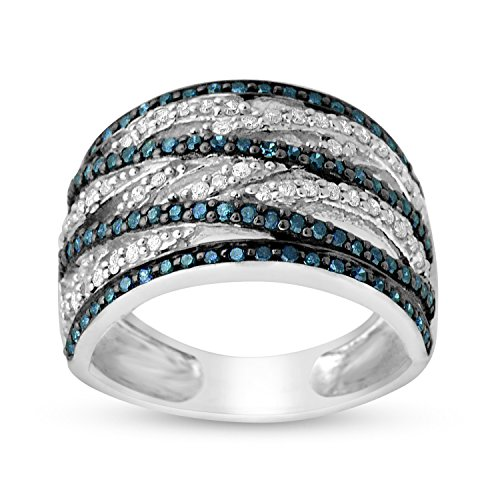 3/4 CTTW Sterling Silver Blue & White Diamond bypass Cocktail ring