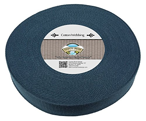 Country Brook Design 1 1/2 Inch Navy Blue Heavy Cotton Webbing, 10 Yards