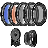 Neewer 37mm Cell Phone Lens Accessory Kit, Includes 0.45X Wide Angle Lens,Lens Clip,Graduated Color...