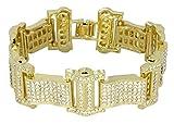 NewAgeBling Men's Iced Out Bracelet 14k Gold Plated Thick Link Cz Stones Hip Hop 8'' Inch
