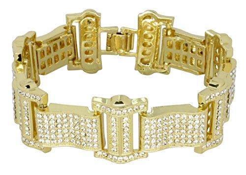 NewAgeBling Men's Iced Out Bracelet 14k Gold Plated Thick Link Cz Stones Hip Hop 8
