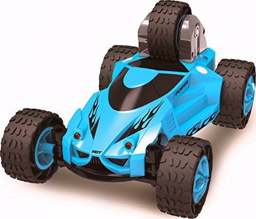 Haktoys HAK123 5 Wheeled X-Terrain RC Stunt Car - Extreme 360° Tumbling & Spinning Action with LED Headlights - Colors May Vary