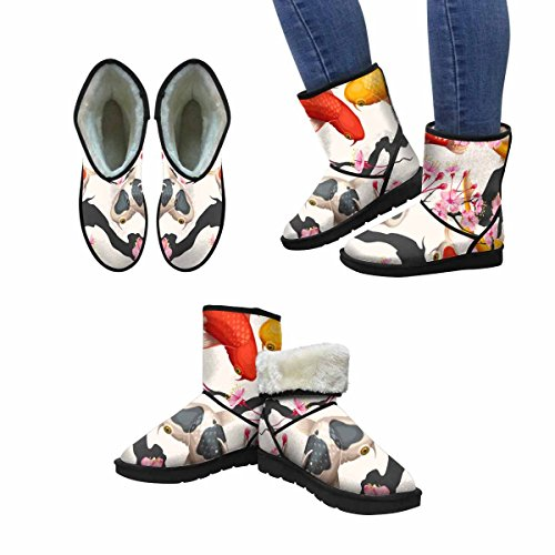 Snow Boots Da Donna Di Interestprint Koi Fish E Sakura, Stivali Invernali Comfort Dal Design Unico E Senza Cuciture Multi 1
