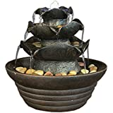 Sunnydaze Brown Three Tier Cascading Tabletop Fountain w/ LED Lights, 9 Inch Tall