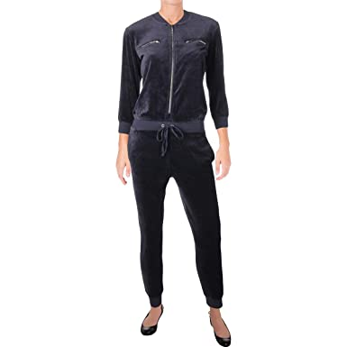 72a4fdba87cb Juicy Couture Women s Track Velour Encrusted JC Long Sleeve Jumpsuit Regal  Petite X-Small