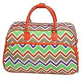 World Traveler 21-Inch Carry-On Shoulder Tote Duffel Bag, Orange Trim Chevron Multi, One Size For Sale
