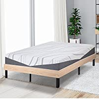 SLEEPLACE SVC14WF04K 14 Inch Classic Natural Wood Finished Platform Bed Frame / Dura Steel Slat Support, King