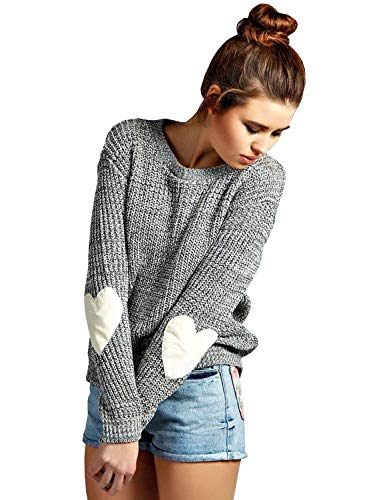 Doballa Women's Cute Heart Pattern Elbow Patch Long Sleeve Lightweight Marled Pullover Sweater (Hearts Skirt Sweater)
