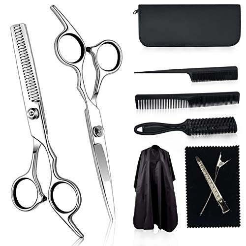 KITOP Hair Cutting Scissors Set for Home Hairdressing Scissors Salon 10PCS Stainless Steel Hair Cutting Shears Thinning Scissors Kit with Scissors, Hair Razor Comb, Clips, Hair Cape (Color: silver white)