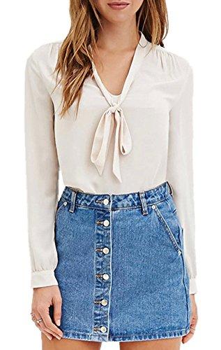 Haut Beige Casual Femme Manches Arc Chemises Col V Shirts Unie Tops Couleur T Mousseline Sexy Longues a Et Blouse Monika UHSBw