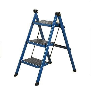 Escalera pequeña, escalera gruesa de tres pasos for el paso del taburete del tubo de hierro grueso for la sala de conferencias del edificio de la oficina en casa (Color : E):