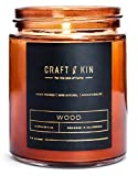 Scented Candles Soy Candle - Rustic Scented Candle Soy Candles Amber Jar Candles Scented Natural Stress Relief Candle Apartment Essentials New Home Gift Ideas House Decor Long Lasting Candles (Wood)