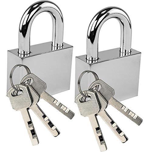 Silver Padlock - Lock'em Steel Padlock - Classic Shiny Silver Finish Lock - Case Hardened Shackle - Secure with Confidence - Keyed Same Set of 2