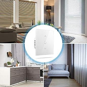Interrupteur Mural Tactile pour Rideau de Fen/être Compatible avec Alexa Google Home et SmartThings Interrupteur WiFi pour Volet Roulant FIL NEUTRE REQUIS Commande Vocale et Contr/ôle /à Distance