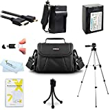 Must Have Accessories Kit For Samsung F90, HMX-F90, HMX-F90BN, HMX-F90WN/XAA, HMX-F90BN/XAA HD Camcorder Includes Replacement IA-BP105R Battery + Charger + Case + 50 Tripod + Micro Hdmi Cable + More