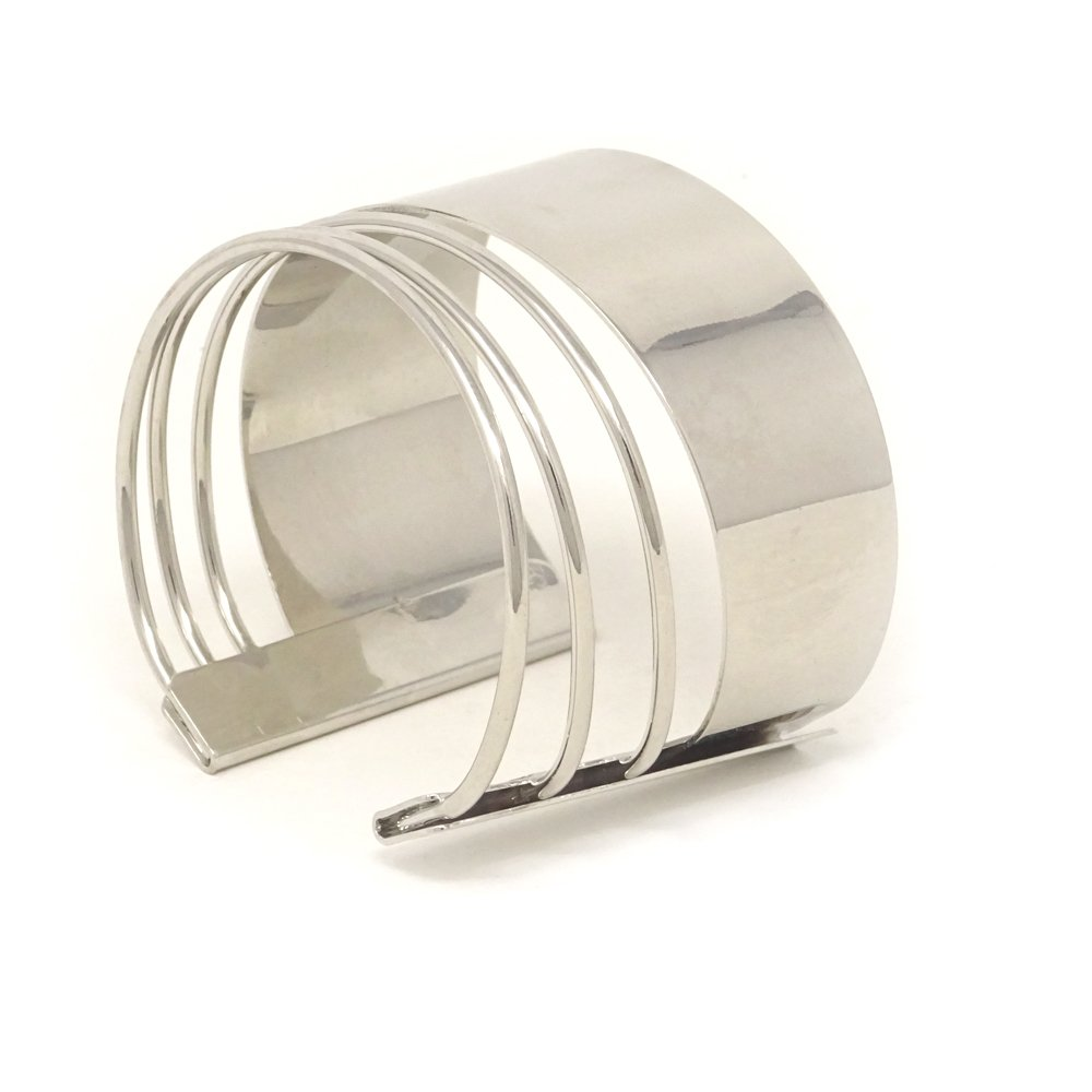 Yueton Silvertone Rigid Steel Memory Wire Metal Circle Split Ring Coil Wire Thin Jewelry Hammered Bunch Cuff Bracelet Bangle Silver