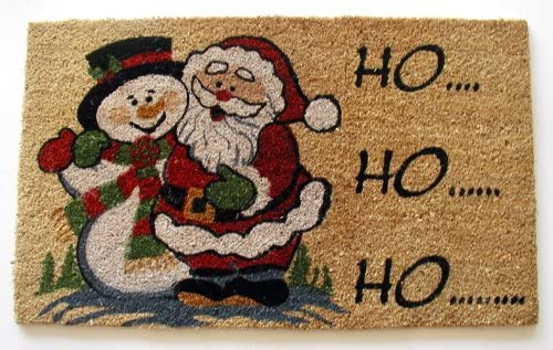 Geo Crafts G623 PVC Backed Coco Doormat, Ho Ho Ho