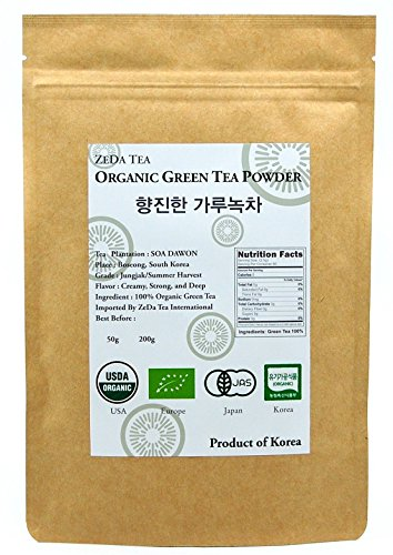 ZEDA Tea - Korean 100% Pure Organic Matcha Green Tea Powder - Deep Flavor, USDA certified - 7 oz / 200 g - Product of Korea