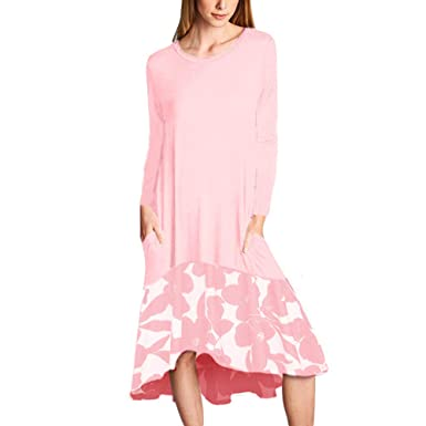 8342840c107a Image Unavailable. Image not available for. Color: Ancapelion Women's Casual  Long Sleeve T Shirt Dress Loose Patchwork Midi Dress with Pocket (Small