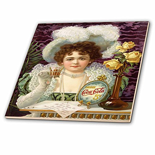 Cola Ceramic (3dRose ct_80222_4 1900 Cocoa Cola Ad with Pretty Little Girl Ceramic Tile,)