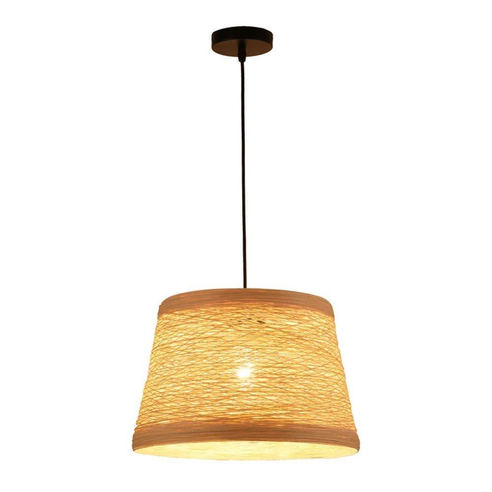 竹シャンデリアレトロ照明器具籐照明器具シャンデリアダイニングルーム天井ランプ農家ペンダントライト、籐籐シェード織りランプ(コーヒー) B07RPZGV8P