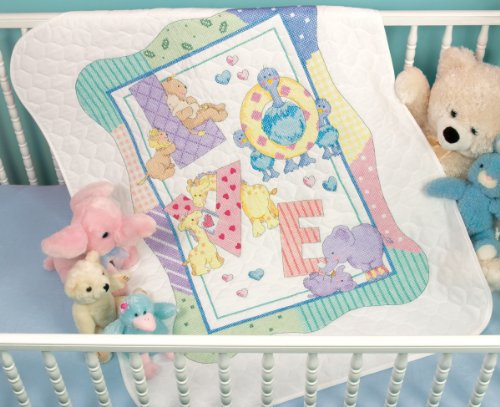 Brand New Baby Hugs Zoo Alphabet Quilt Stamped Cross Stitch Kit-34