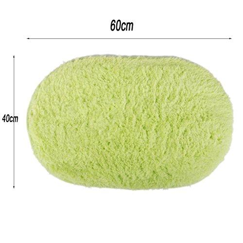 Polymer Absorption Bath Mat Soft Floor Rug Bedroom Cozy Shaggy Rug Oval Living Room Carpet (Green) by Polymer (Image #2)