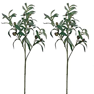 "Aisamco 2 Pcs Artificial Olive Plants Branches Fruits Branch Leaves in Green 28"" Tall Indoor Outdoor Artificial Greenery Decoration Faux Greenery Accent Floral Arrangement 33"