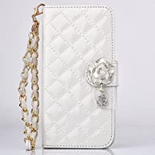 Apple iPhone 6 6S 4.7inch Wallet Case,Liujie shop Premium PU Leather Protective Flip Wallet Case with Credit Card Slots Diamante Magnetic Cover for Apple 4.7inch iPhone 6 6s (LKH-white)