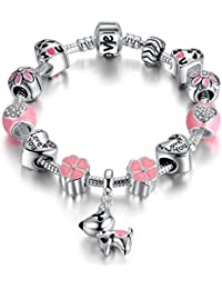 Puppy Dog Charm Bracelet Love Heart Charm Bracelet Pink Enamel Lucky Clover Charm Bracelet for Teens Girl