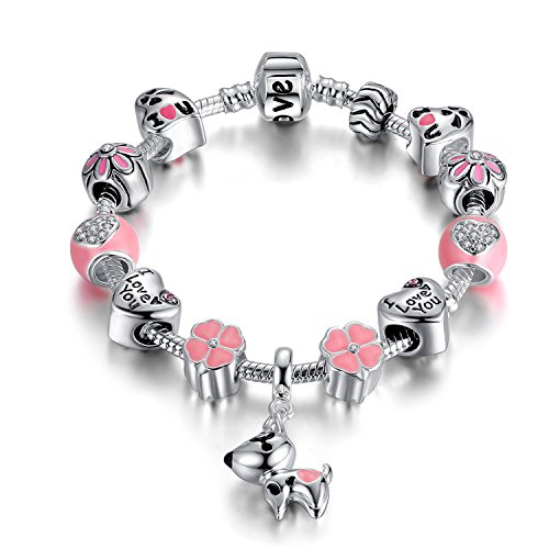 Puppy Dog Charm Bracelet Love Heart Charm Bracelet Pink Enamel Lucky Clover Charm Bracelet for Teens Girl (Dog charm bracelet)