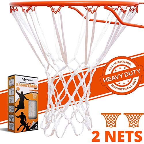 BETTERLINE Heavy Duty Basketball Nets | Premium Quality All-Weather Thick Nets | 2 White Basketball Nets in Pack - for Indoor and Outdoor 12-Loop Hoop Rims