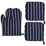 Kitchen Heat Resistant Cooking Gloves Oven Mitts Potholder Sets For Cooking Baking Barbecue, with Cotton Lining 4 pieces a pack (Blue with white line)