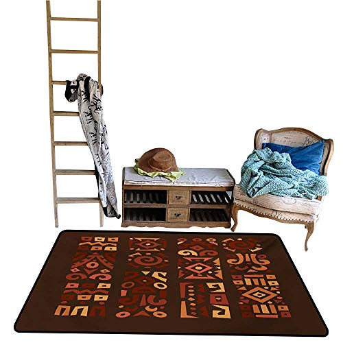 scenine Living Dining Room Rug Earth Tones,Doodle Style Graphic African Figures in Four Vertical Borders Ethnic Accents,Multicolor.jpg 24