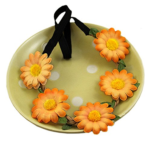 Women Boho Style Floral Flower Hairband Headband for Festival Party Wedding (Orange)