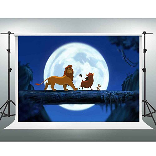 Lion King Simba Backdrop GESEN 7X5ft Cartoon Animated Character Going Forward Under The Moonlight Photography Background Themed Party Backdrop Photo Studio Shooting Props PGGE161]()