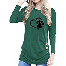 Rfecccy Funny Cute Love Dog Paw Print Cotton Button Decoration Crew Neck T-Shirt for Women