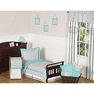 Sweet Jojo Designs Fitted Crib Sheet for Turquoise and Gray Chevron Zig Zag Baby/Toddler Bedding – Chevron Zig Zag Print