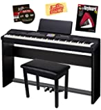 Casio Privia PX-360 Digital Piano Bundle with Casio CS-67 Stand, SP-33 Pedal, Bench, Instructional Book, Austin Bazaar Instructional DVD, and Polishing Cloth - Black